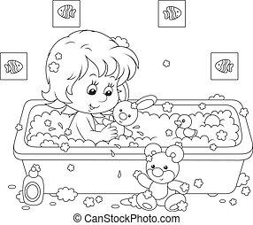 Chica bañándose