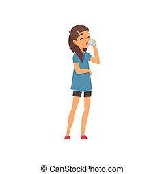Chica bebiendo un vaso de agua, niño disfrutando de beber de la ilustración del vector de agua limpia