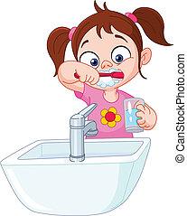 Chica cepillando dientes