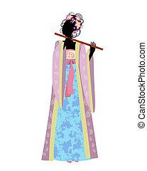 Chica china con una flauta en traje tradicional