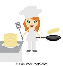 Chica cocina con panqueques