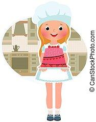 Chica cocinera con pastel
