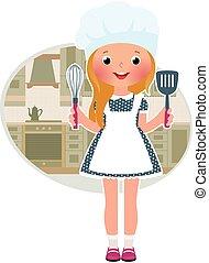 Chica cocinera en la cocina