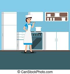 Chica cocinera en la cocina. Ilustración de vectores.