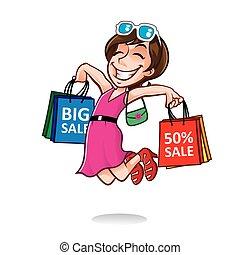 Chica compradora feliz