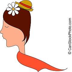 Chica con flores en el pelo, ilustración, vector de fondo blanco.