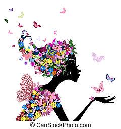 Chica con flores y mariposas