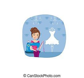 Chica con máquina de coser