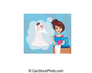 Chica con máquina de coser, sueños de un hermoso vestido de novia
