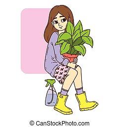 Chica con maceta.