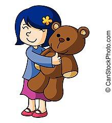 Chica con muñeca de oso