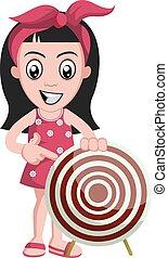 Chica con objetivo, ilustración, vector de fondo blanco.