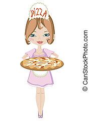 Chica con pizza.