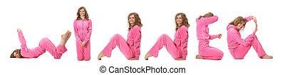 Chica con ropa rosa haciendo palabra ganador, collage