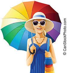Chica con sombrero con paraguas