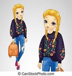 Chica con suéter con flores