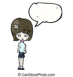 Chica de cartón con flor en el pelo