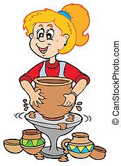 Chica de cerámica de cartón