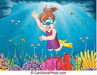 Chica de dibujos animados buceando en el mar