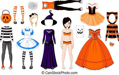 Chica de Halloween con disfraces