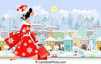 Chica de moda Santa con compra en una ciudad. Un panorama sin daños