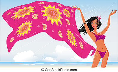 Chica de playa de verano