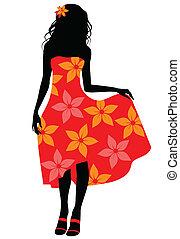 Chica de vestido rojo silueta