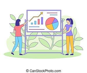Chica del gráfico de estrategia financiera llena vector