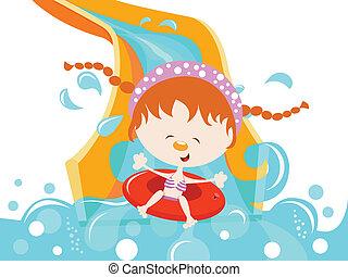 Chica disfrutando del deslizamiento de agua