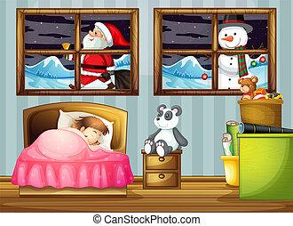 Chica durmiendo en el dormitorio