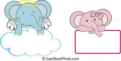Chica Elefante Angel copia espacio