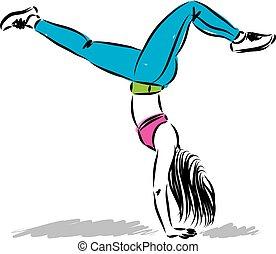 Chica en forma de lado abajo ilustración vectorial