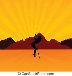 Chica en la ilustración del desierto