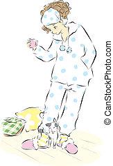 Chica en pijama con un gato