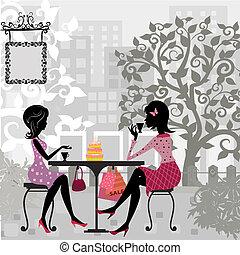 Chica en un café de verano y pastel