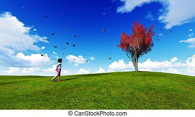 Chica en un prado con cielo azul