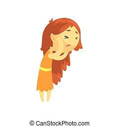 Chica enferma con el pelo largo tocando su cabeza sufriendo dolor de cabeza, adolescente indispuesta necesitando ayuda médica para ilustrar el vector de personaje de dibujos animados