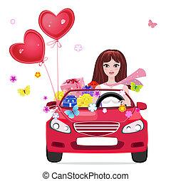 Chica feliz con regalos en coche