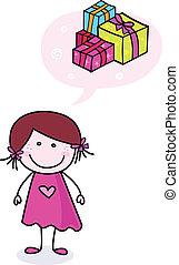 Chica feliz con regalos