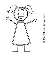 Chica feliz con trenzas de icono