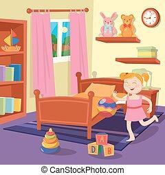 Chica feliz jugando pelota en el dormitorio de los niños. El interior del dormitorio con juguetes. Ilustración de vectores