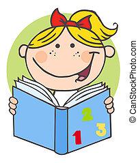 Chica feliz leyendo un libro