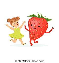 Chica feliz pasándoselo bien con fresas frescas sonrientes, comida saludable para niños caracteres coloridos vector de la ilustración