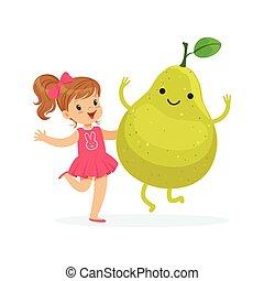 Chica feliz pasándoselo bien con fruta fresca sonriente de pera, comida saludable para niños coloridos vectores de ilustración