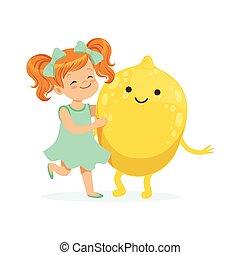 Chica feliz pasándoselo bien con frutas de limón frescas sonrientes, comida saludable para niños coloridos vectores de ilustración