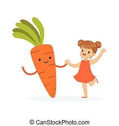 Chica feliz pasándoselo bien con zanahorias frescas, comida saludable para niños coloridos vectores de ilustración