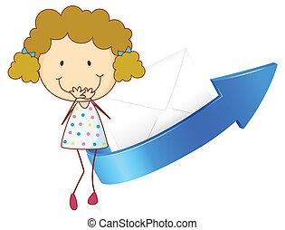 Chica, flecha y envoltura