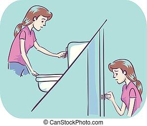 Chica frecuente ilustración de orina