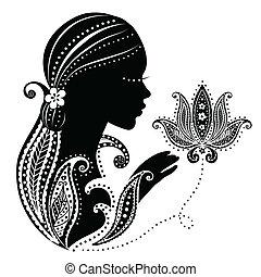Chica india con una flor