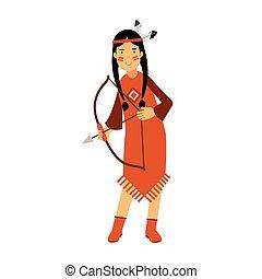 Chica india nativa americana con un traje tradicional con un vector de arco ilustración